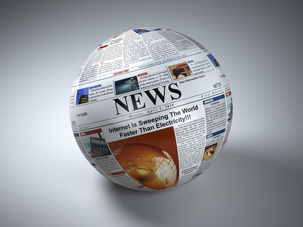 News concept. Newspaper sphere. Three-dimaensional image. 3d