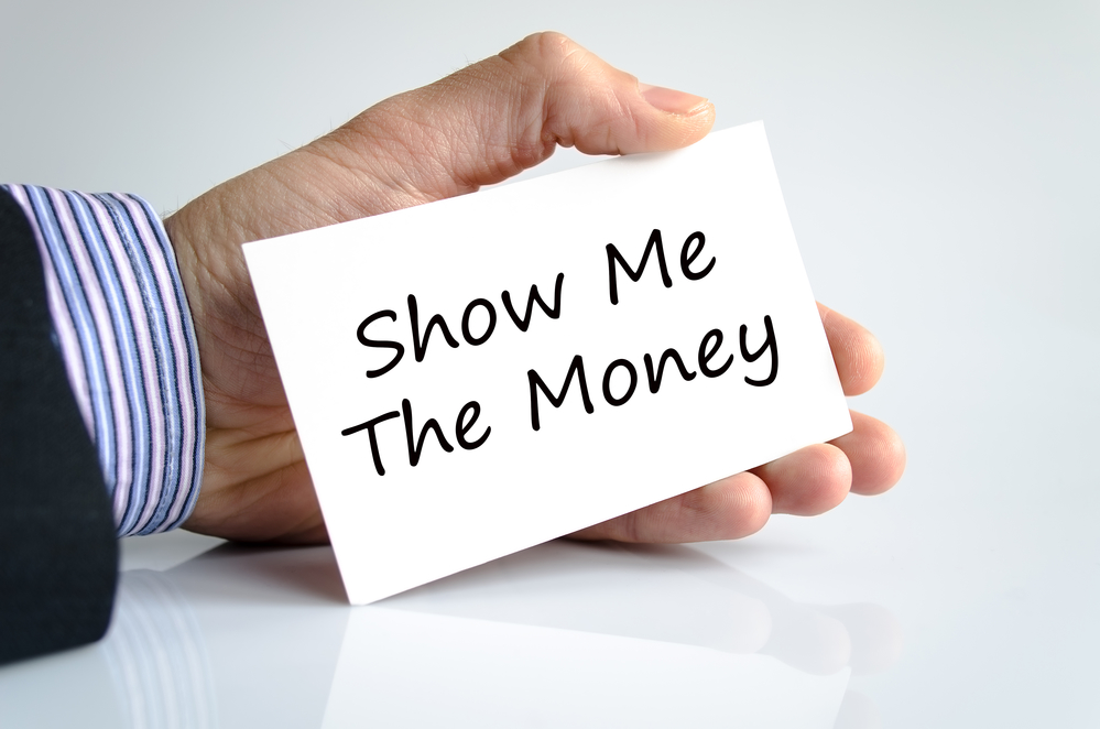 Show me the money text concept isolated over white background
