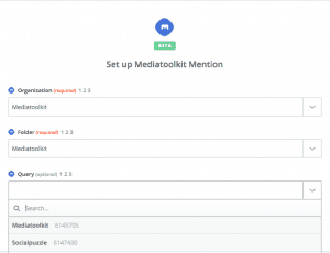 Set up Mediatoolkit Zapier Mention